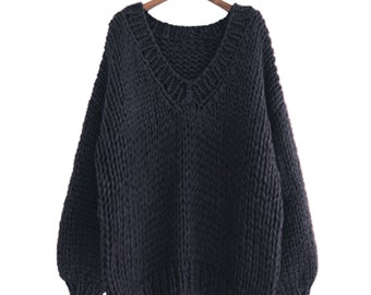 Hand knit WOOL sweater oversize woman sweater V-neck slouchy Black pullover sweater