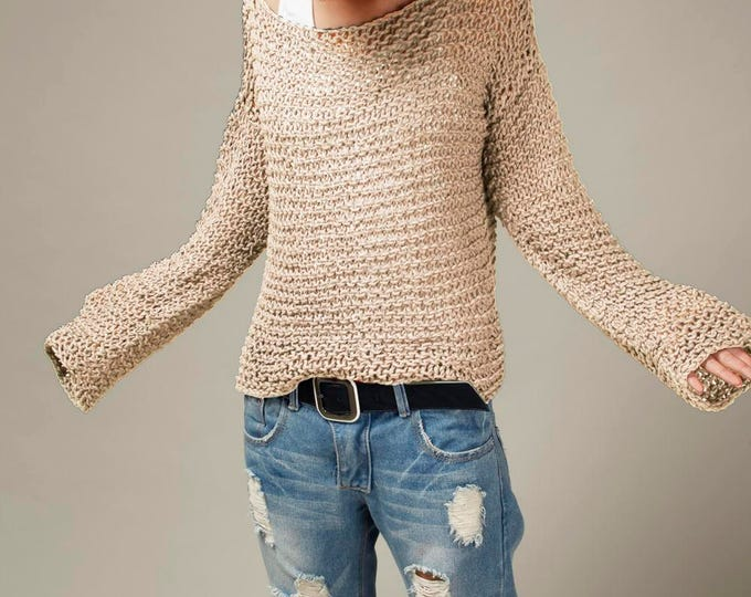 Simple is the best - Hand knit sweater Eco cotton oversized light wheat/ oat pullover sweater - ready to ship