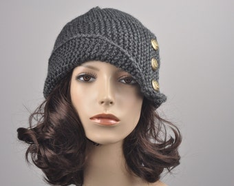 Hand knit hat woman winter hat Fold band hat Charcoal button wool hat - ready to ship