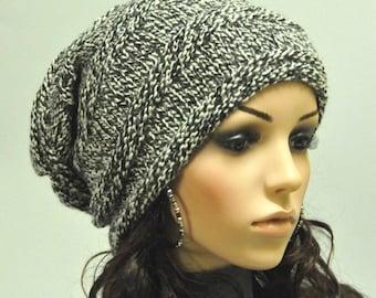 Super Cool - Chunky Wool Hat - Black/white blend