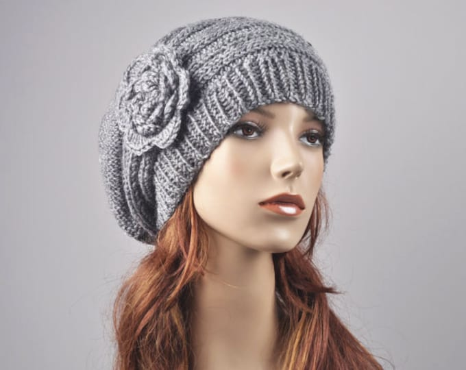 Hand Knit Hat - Oversized  Beret Hat with crochet flower in light grey - ready to ship