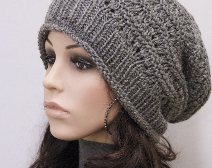 Hand Knit hat woman hat winter hat Charcoal Wool Hat dark grey hat - ready to ship