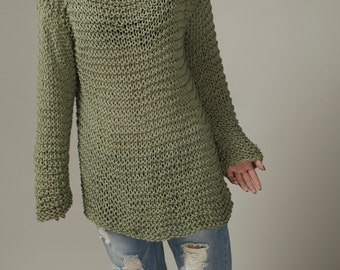 Hand knit sweater - Eco cotton oversized sweater in Frost Green- ready to ship
