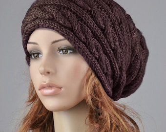 Hand knit hat woman wool hat winter hat slouchy hat brown coffee cable hat-ready to ship