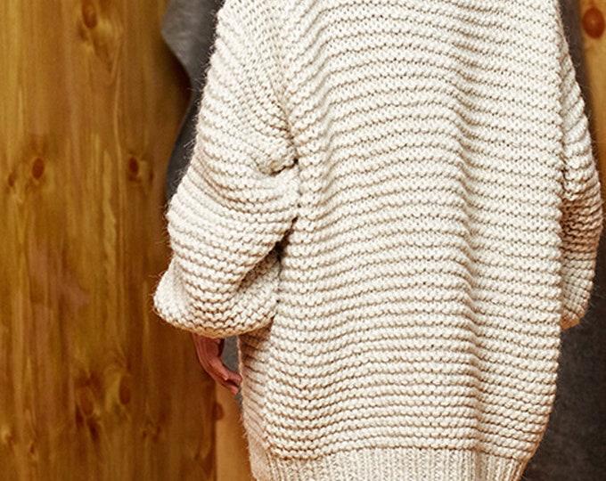 Hand knit oversize woman sweater Crew neck slouchy wool White Cream sweater