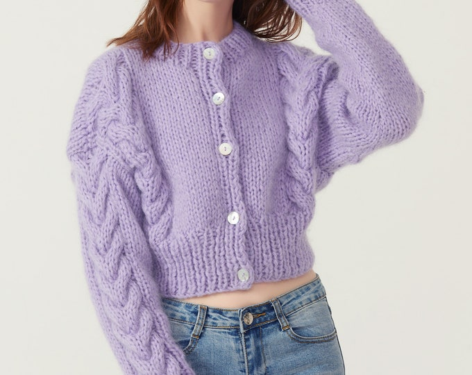Hand knit woman sweater Mohair cable knit short cropped cardigan button front cardigan Lilac