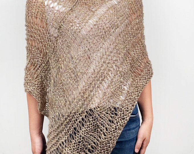 Hand knit woman sweater Little poncho knit scarf knit mohair shrug