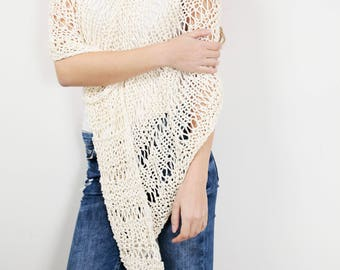 Hand knit little cotton poncho knit scarf knit shrug white cream woman sweater - ready to ship
