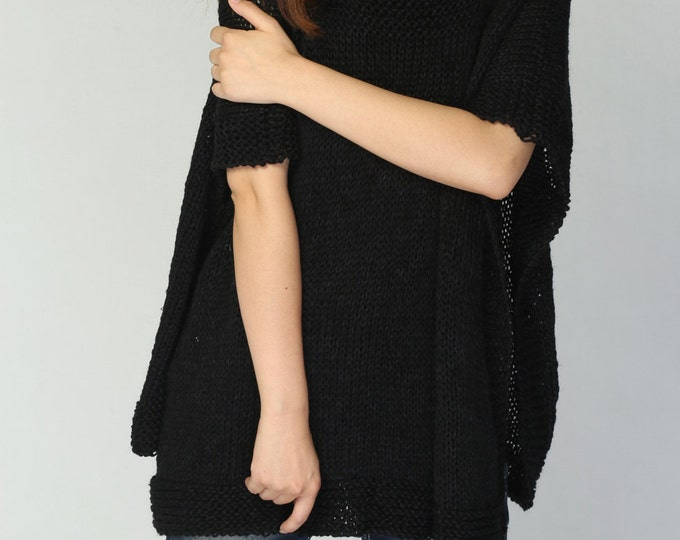 Hand knit woman Poncho/ capelet eco cotton poncho in Black -ready to ship