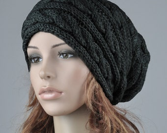 Hand knit hat wool woman winter hat Black cable slouchy hat-ready to ship