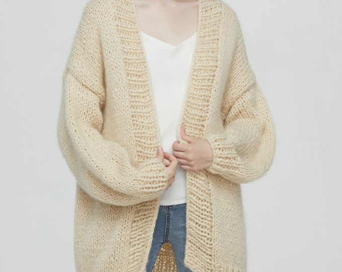 Hand knit oversize woman sweater chunky slouchy Mohair wool long cardigan light wheat