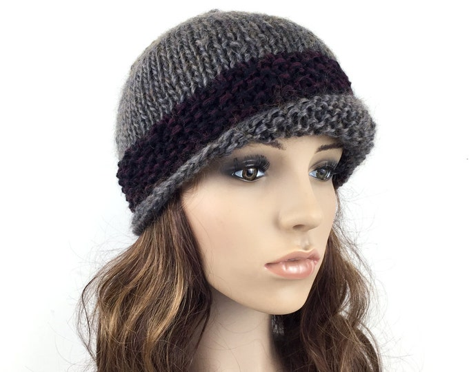 Hand knit hat woman hat Fold band hat Olive hat contrast band wool hat