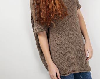 Hand Knit sweater Long wool Drop shoulder sweater asymmetrical mocha pullover