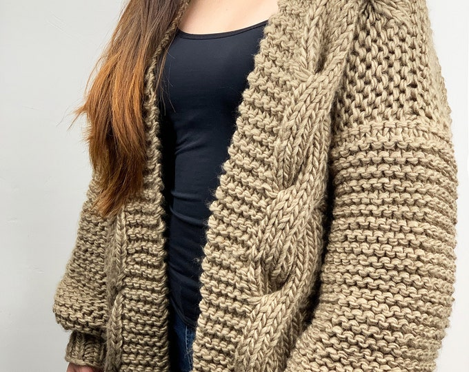 Hand knit oversize woman sweater chunky slouchy khaki wool cable knit cardigan