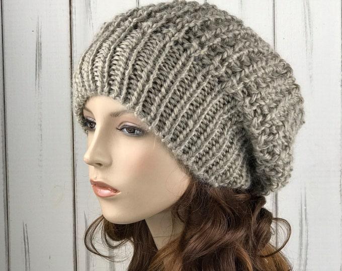 Hand knit woman hat - Oversized Chunky Wool Hat, slouchy hat,  oatmeal hat, winter hat