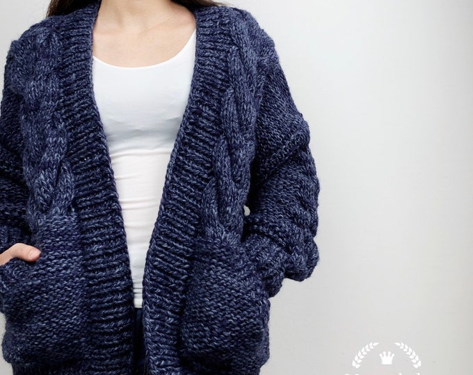 Hand knit oversize woman sweater chunky slouchy dark blue wool cable knit cardigan