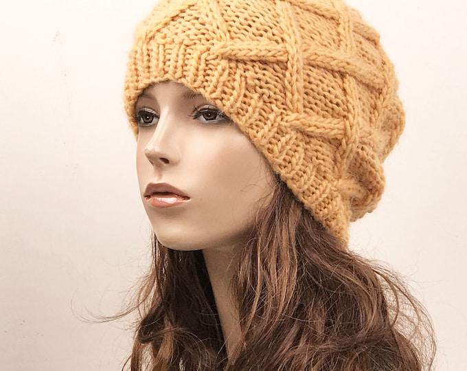 Hand Knit Hat woman hat winter hat wool Beret Hat yellow Beanie hat