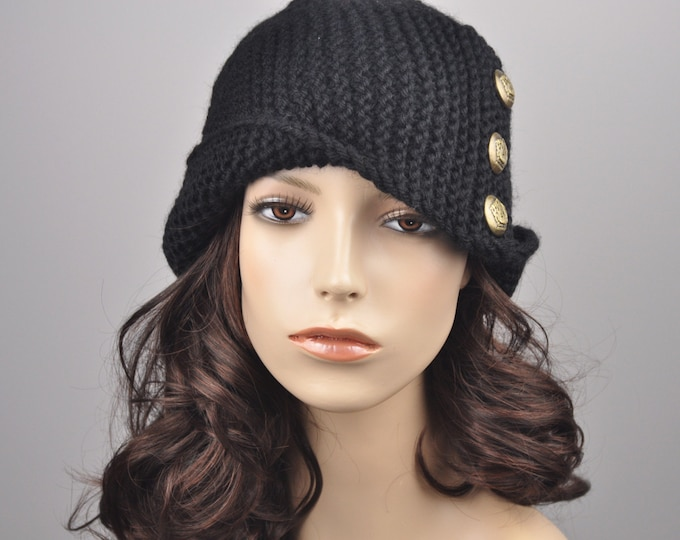 Hand knit wool hat woman beret Fold band hat in Black with button, wool hat, black hat-ready to ship