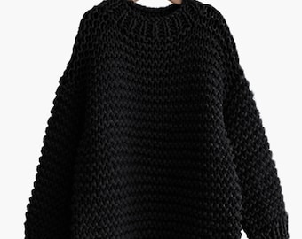 Reserve listing for tracy6470-Hand knit oversize woman sweater Crew neck slouchy wool oats black sweater
