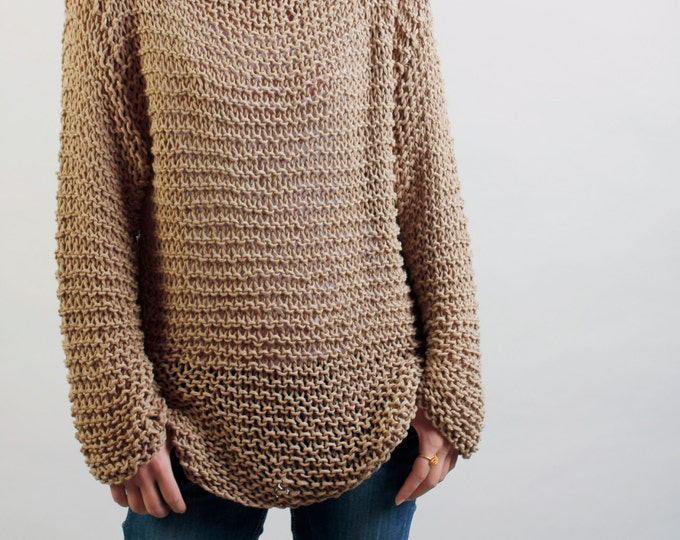 Simple is the best - Hand knitted woman sweater Eco sweater oversized in wheat - ready to ship