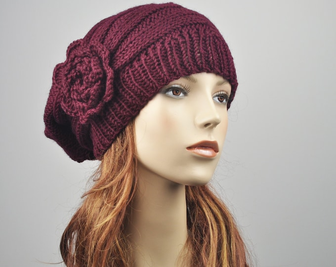 Hand Knit Hat - Oversized  woman wool hat Beret Hat crochet flower Burgundy hat - ready to ship