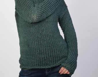 Hand knit woman sweater Eco cotton long sweater Fall Green Top
