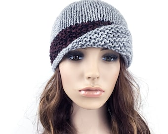 Hand knit hat woman hat Fold band hat grey hat contrast band wool hat