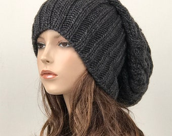Hand knit woman man unisex hat - Oversized Chunky Wool Hat, slouchy hat, charcoal hat, winter hat