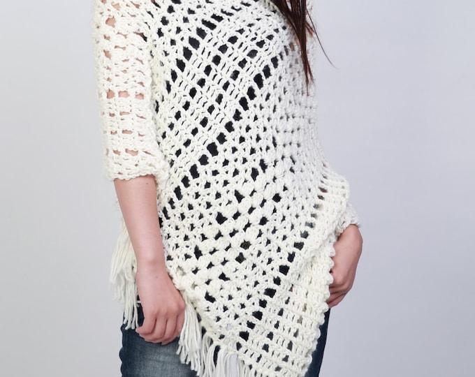 Hand crocheted woman poncho crochet scarf white cream scarf