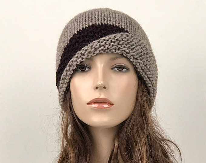 Hand knit hat woman hat Fold band hat Almond hat band wool hat