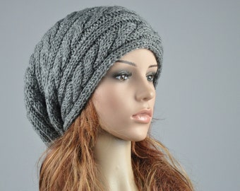 Hand knit hat woman men unisex Charcoal hat slouchy hat cable beret hat - ready to ship
