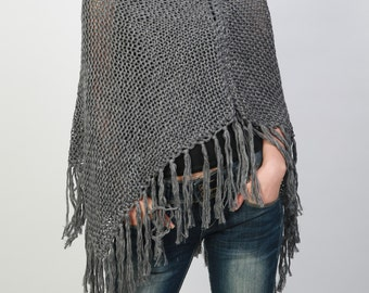 Hand knitted Little cotton poncho knit Fringe scarf knit shrug in Charcoal