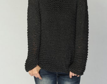 Hand knit woman sweater Eco sweater oversized pullover charcoal dark grey sweater - Ready to ship