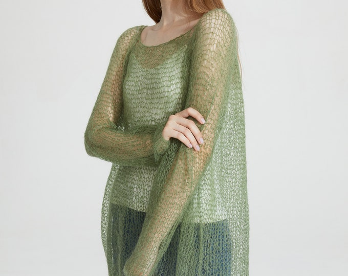 Hand knit woman sweater mohair loose knit long sweater top pullover Green