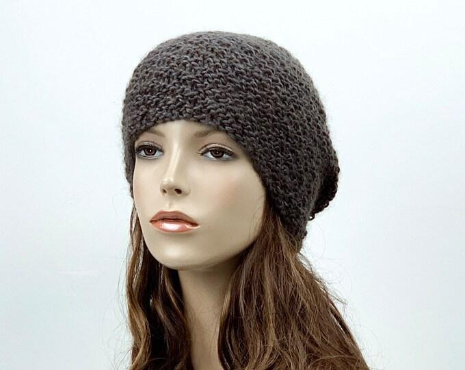Hand knit slouchy Woman winter hat dark olive Wool Hat