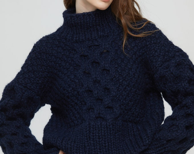 Hand knit oversize woman sweater crewneck mohair pullover cable knit navy sweater