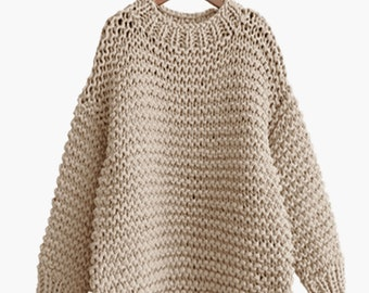 Hand knit COTTON oversized woman sweater Crew neck slouchy wheat pullover sweater