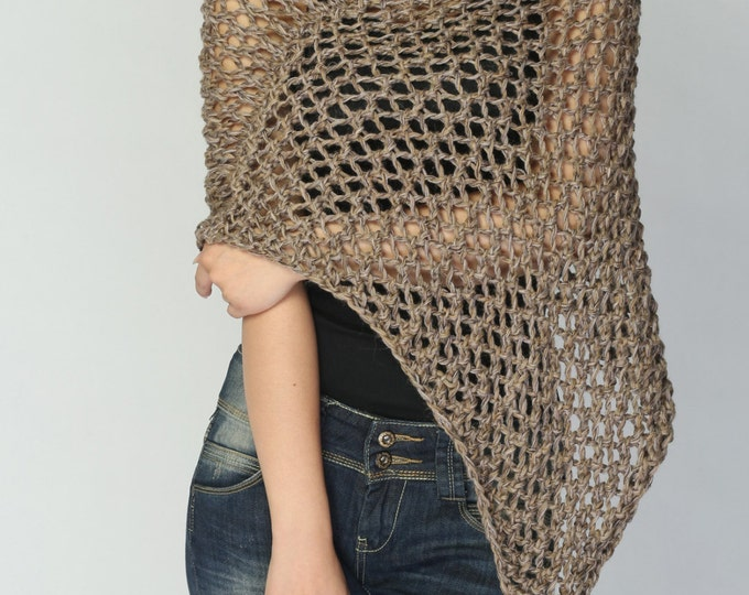3df0872cec Hand knit Little cotton poncho knit scarf knit shrug Mocha - ready to ship