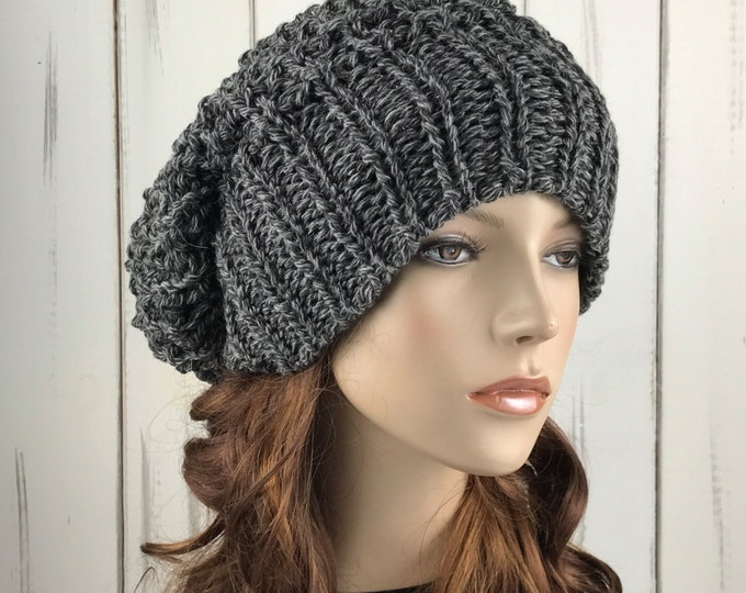 Hand knit woman hat - Oversized Chunky Wool Hat, slouchy hat, Charcoal white blend, winter hat