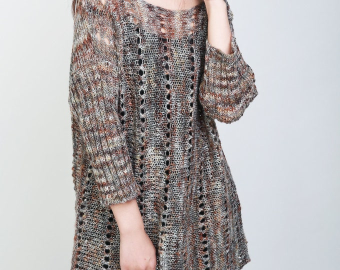 Hand knit woman oversized sweater oversized multicolor pullover mohair 3/4 sleeve sweater