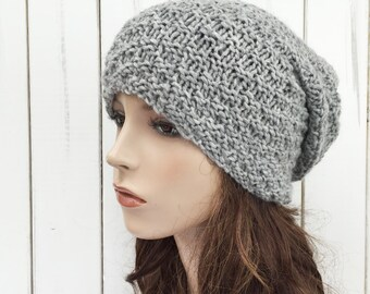 Hand knit wool hat woman slouchy Grey beanie winter hat