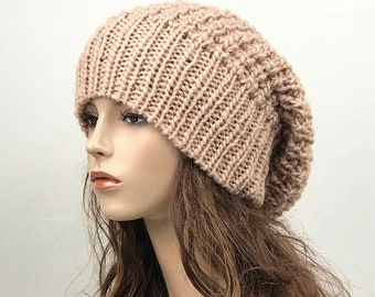 Hand knit woman hat - Oversized Chunky Wool Hat slouchy hat Peach hat