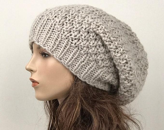 Hand knit woman hat - Oversized Chunky Wool Hat, slouchy hat,  light grey hat, winter hat