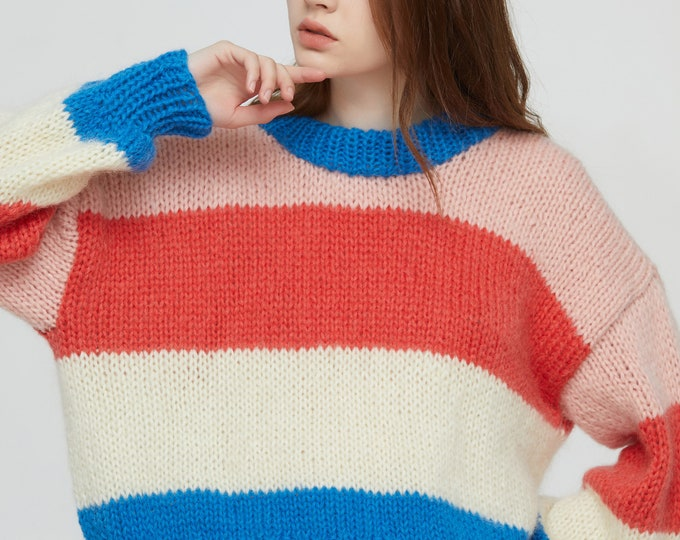 Hand knit woman sweater mohair Jumper knit striped crewneck sweater top pullover pink/coral/white/blue