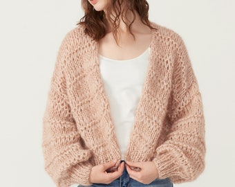 Hand knit woman sweater mohair open weave cardigan sweater top
