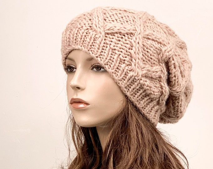 Hand Knit Hat woman oversize slouchy hat winter hat wool Beret Hat Peach Beanie hat