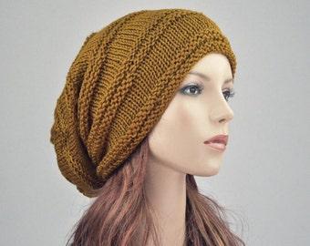 Hand knit wool hat woman hat Mustard yellow Chunky Wool Hat Slouchy hat