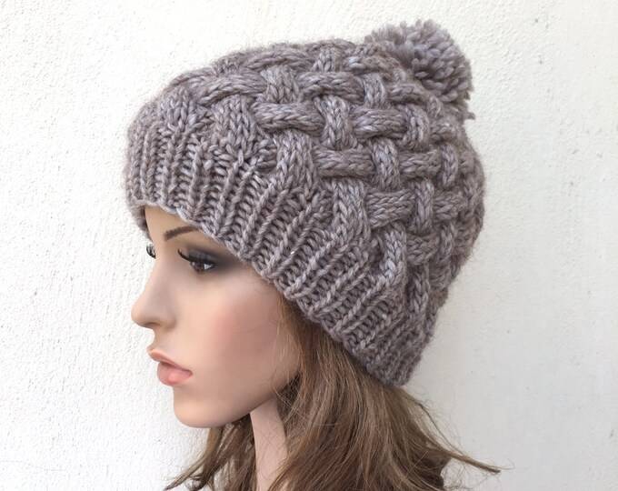 Hand Knit Hat  woman hat winter hat wool Beanie Hat Pom pom hat