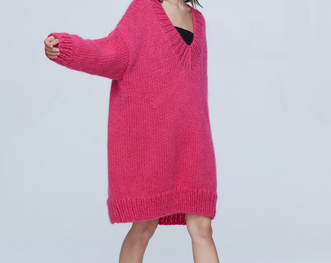 Hand knit woman sweater OVERSIZED mohair dress sweater top Deep V-neck pullover fuchsia
