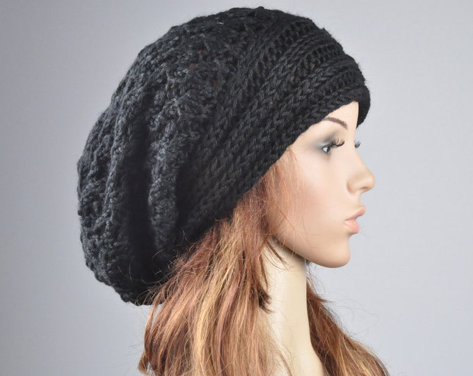 Hand knit hat woman man wool hat  Oversized Black Chunky hat Slouchy hat- ready to ship